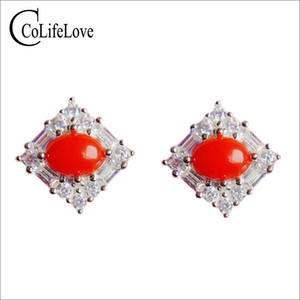 CoLife Jewelry 925 Silver Red Coral Stud Earrings 5mm*7mm Natural Red Coral Earrings Silver Precious Jewelry Gift for Girl