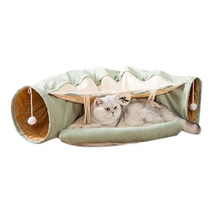 Cat Dog Tunnel Bed with Mat, Collapsible 3 Way Cat Tube Condo Play Toy with Peek Hole Fun Ball Indoor Outdoor Interactive Hideou