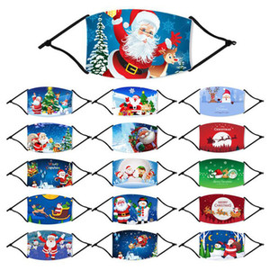 أزياء عيد الميلاد قابل للغسل قناع الكرتون المطبوع عيد الميلاد الوجه أقنعة الغبار مضاد ندفة الثلج الفم غطاء الحرير الجليد التي يعاد استخدامها مع PM2.5 مرشحات