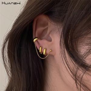 HUANZHI 2020 Новой простота Геометрия площадь ухи клип металл кольцо уха серьги цепь цвет золота для девочек Женщины Аксессуаров