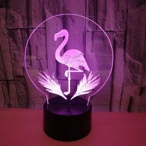 Único 3D llevó luces del flamenco estéreo lámpara de mesa de visión tridimensional colorido LED Protección de los ojos 3D luz de la noche de ahorro de energía