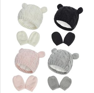 Newborn Baby Winter Mittens Gloves Beanie Hat Set for Kids Baby Toddler Children Knit Thick Warm Fleece Lined Thermal Set for Boy Girl 0-18M