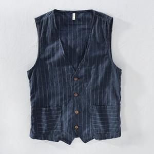 Mans Vintage Linen Suit Vest Slim Material 55%linen + 45%cotton Vest Male Casual Striped thin Waistcoat Vest Asian Size M-3XL 200922