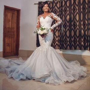 2021 Illusion Long Sleeves Mermaid Wedding Dresses Sheer Neck Lace Applique Vestidos De Novia Sweep Train Tulle Bridal Gown