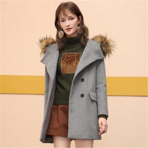 Breasted Outwear Korea OL Style Female Clothing Dropshipping Winter Womens Designer Wool Slim Solid Color Double