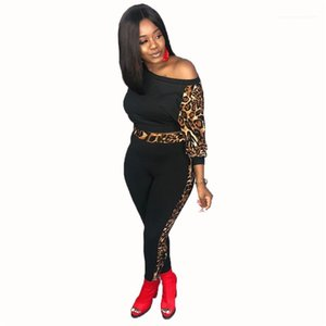 Two Piece Pants Designer Sports Styles Tracksuits Fashion Long Sleeve T Shirt 2PCS Set Leopard Womens