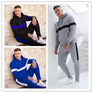 Men Clothes Striped Design Tracksuit Long Sleeve Sweatshirts Hooded Tops Pants Two Piece Outfitsed Winter Jogging Sportswear S-XL LY926