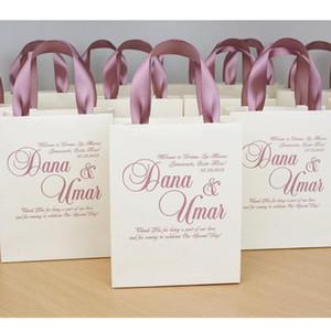bolsas de bienvenida Dusty Rose elegantes de la boda personalizados para favor de la boda para los huéspedes, Bolsas de Marfil de regalo con cinta de raso y nombres