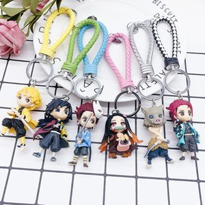 6pcs Demon Blade Keychain Anime Kimetsu No Yaiba Figure Tanjirou Nezuko Action Figure Demon Slayer Figurine Toy Gift 5-7cm