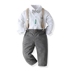 INS birthday party baby boys suits gentleman kids suits boys outfits long sleeve shirt+suspender trousers 2pcs boys clothes
