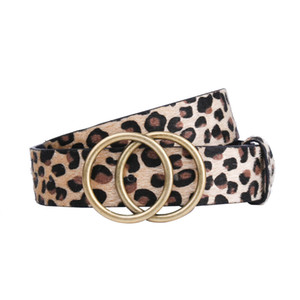 European and American Large Double round Buckle Womens Belt Fake Horse Hair Leopard Waistband Bronze Buckle Decorative All-match Pin Buckle