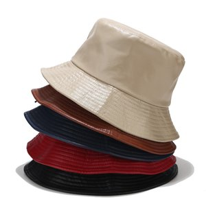 fashion genuine leather fishing cap brand casual bucket Hat out sun protection bonnie hats male pu camping borras for men women