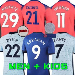 (20 개) (21) 축구 유니폼 아브라함 베르너 HAVERTZ CHILWELL ZIYECH 램파드 축구 셔츠 PULISIC Camiseta KANTE MOUNT 2020 2021 남성 + 어린이 키트 세트