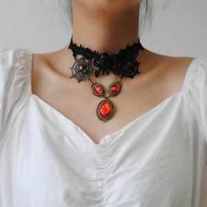 Hohle Black Lace Skeleton Halskette Spinnen-Netz hängende Charme-Statement Chokers Halloween Frauen Fashion Jewelry