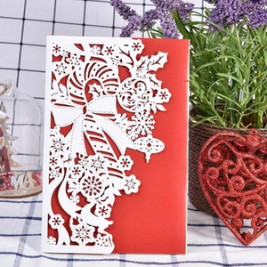 10Pcs Christmas Greeting Cards 3D Wreath Deer Laser Cut Hollow Out Invitation Card With Envelope Wedding Christmas Cards