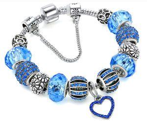Hotsales Mode Diamant Zircon Herz-loses Korn mit Stoppers 925 Silber überzogene Charme-Armbänder in 18cm-21cm