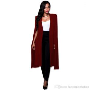 V шеи Кардиган Пальто женщин дизайнер длинный мыс моды Твердая офис леди костюм куртка Бизнес Donna