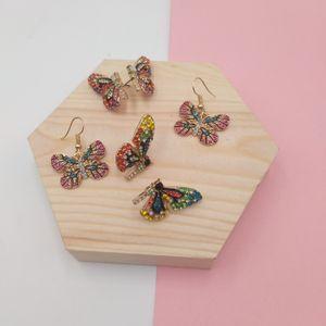 Fairy Tale Rhinestone Set Colorful Butterfly Wing Earrings Bracelet Lace Choker Necklace Wedding Jewelry Gift