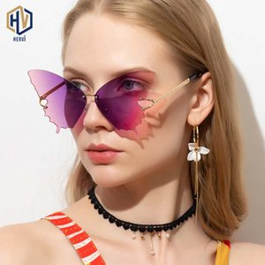 Fashion Butterfly Sunglasses Women Fashion Metal Big Frame Sun Glasses High Quality Frameless Gradient Eyewear UV400
