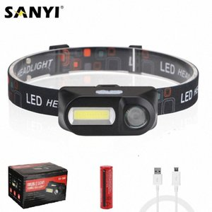 COB LED Mini Headlight Headlamp 7 Modes Head Lamp USB Rechargeable 18650 Head Torch Lantern For Camping Night Fishing c34h#
