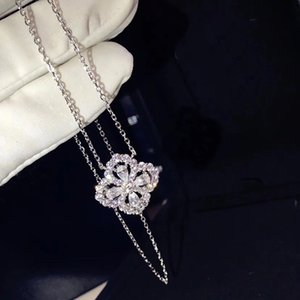 Hot Sale Brand Pure 925 Sterling Silver Jewelry For Women Lotus Flower Neckalce Flower Pendant Luck Clover Sakura Wedding Party Necklace