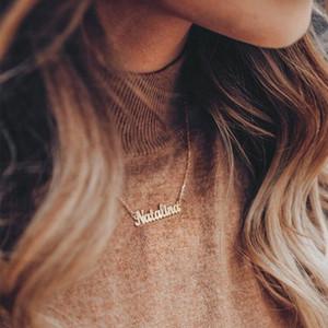 Laramoi Colar de nome personalizado pingente de aço inoxidável letras especiais Choker colares aniversário Jóias Presente do aniversário