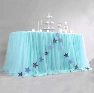 Prenses Bebek Kız Cinsiyet için Dikdörtgen veya Yuvarlak Masalar Tutu Masa Örtüsü için Pembe Tül Masa Etek doğum günü partisi OWD200 Ortaya