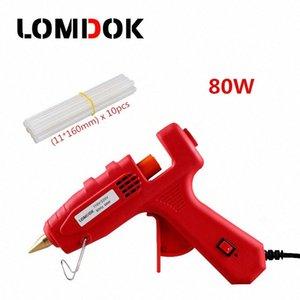 LOMDOK 80W Industrieheißkleber Pistole mit 10 Stück 11mm-Stick Heiztemperatur Werkzeug Elektro Guns Thermo Gluegun Repair Tools CQJj #
