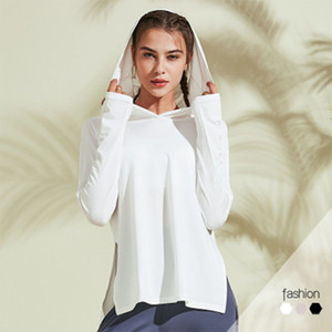 SALSPOR Yoga sólido camisas mujeres sueltan con capucha transpirable de secado rápido Deportes blusa superior de Ejecución de alta elásticos entrenamiento Femme Camisetas