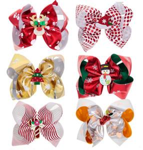 Baby Christmas Bow Barrettes Cartoon Printed Xmas Hair Bows Kids Bow Headwear Baby Headbands Girls Hair Clips