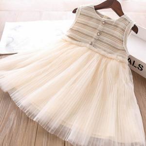 Autumn Winter 2020 new girls dresses fashion lace tutu girls dress stripe Sleeveless dress princess kids dress little girls clothes B2014