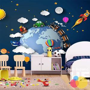 مخصص أي حجم جدارية خلفيات 3d الكرتون الخيال سماء النجوم سحابة الأرض قطار صغير سيارة بالون الصواريخ خلفية الجداريات الجداريات