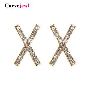 kadınlar için takı Carvejewl yeni çapraz Earrings saplama X şekli Korece tasarım şirin cam kristal taklidi simüle inci küpe