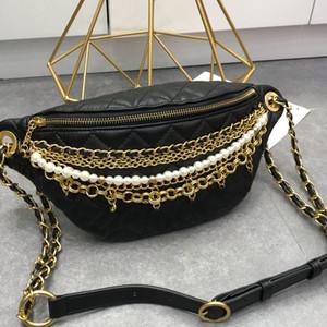 Taille Kasten Tasche Umhängetaschen Gesäumt Purse Buchstaben- Anhänger Perlen-Ketten-Beutel-Diamant-Gitter-echtes Leder Pailletten Frauen Handtaschen Plain