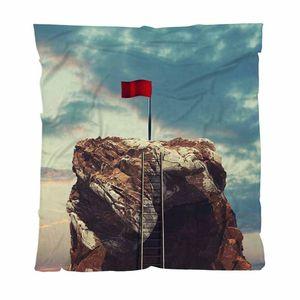 Mountain Теплой фланели Руно Полотенца Пледы, Лестница на вершине горы, ведущие к Red Flag, Soft Удобное многофункциональное Одеяло