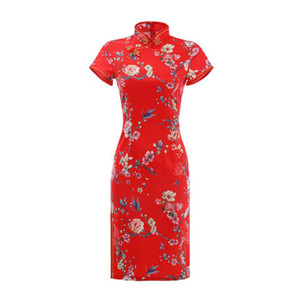 Chinese Traditional Cheongsams for Women Summer Satin Floral Printed Slim Short Sleeve Split Dress Qipao