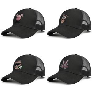 قبعات سيئة الأرنب الوردي شعار قابل للتعديل سائق الشاحنة كاب الأزياء قبعة البيسبول خمر أبي الكرة رجال نساء أرنب الأذن الورد الأبيض التوقيع لطيف