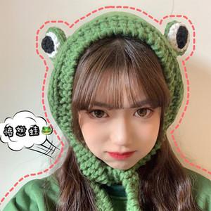 Sombrero del otoño y del invierno Gorros Estudiantes orejeras calientes lindos Frog Eyes Tocado de punto de lana Cap Pullover