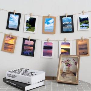 벽 사진을 매달려 클립을 가진 10PCS 2.2M 로프 홈 장식 공예 DIY 크래프트 종이 액자 조합 종이 프레임
