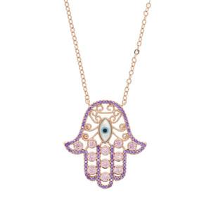 качество чокеровщика высокой руки нового розовое золота фиолетового цвета красной Хамса рука кулон Фатима CZ турецкий сглаз длинного ожерелья ювелирных изделий