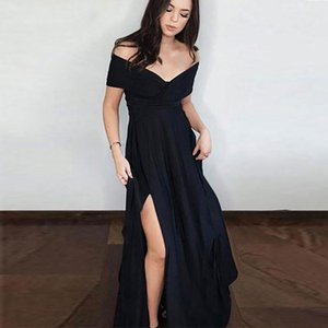 New Evening Dresses Elegant Off the Shoulder V-Neck Long Party Dresses with Slit A-Line Chiffon Black Prom Dresses
