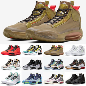 Melhores Jumpman XXXIV 34 Wrapping Paper PE Shoes Mens Basketball Hot 34s Paris Mulheres Sports Sneakers Tamanho 40-46