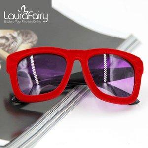 Laura Fata nuovo modo Flock donne Villus progettista di marca degli occhiali da sole di velluto Freeshipping Oculos De Sol