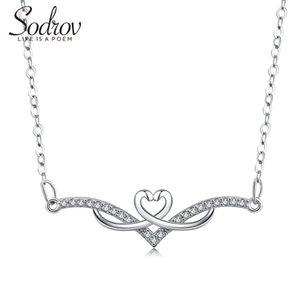 Sodrov argento 925 Loveheart catena collana elegante d'avanguardia Fine Jewelry romantico per le donne