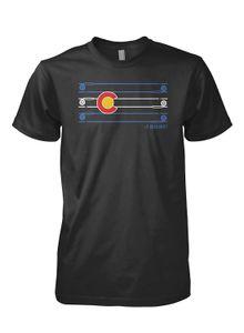 Siyah Moda T-shirt üzerinde 2019 Yeni Yaz İnce Tee Gömlek Erkek Colorado Bayrak Çubuk ve Reel