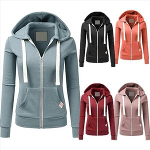 Casual Hoodies Women Autumn Winter Outdoor Sport Solid Color Long Sleeve Hoodies Pockets Zipper Sports Coat Top s Hoodie Women
