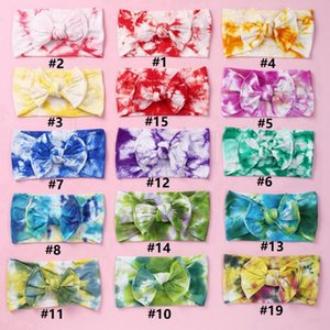 23 Styles Children Bow Tie Dye Headbands Girls Bowknot Hairbands Soft Nylon Elastic Headband Hair Accessories for Kids Party Favor RRA3604