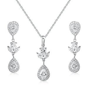WEIMANJINGDIAN elegante pera goccia zirconi CZ cristallo Collana e orecchini da sposa gioielli Set