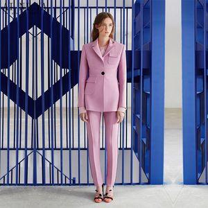 Jacket+Pants Womens Business Suit Pink Female Office Uniform Ladies Formal Trouser 2 Piece Blazer Evening Prom Party Tuxedos