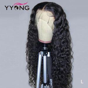 YYong의 13x6 T 부 HD 투명 레이스 프런트가 인간의 머리 가발 레미 브라질 물 웨이브 인간의 머리 레이스 가발 아기 120 %